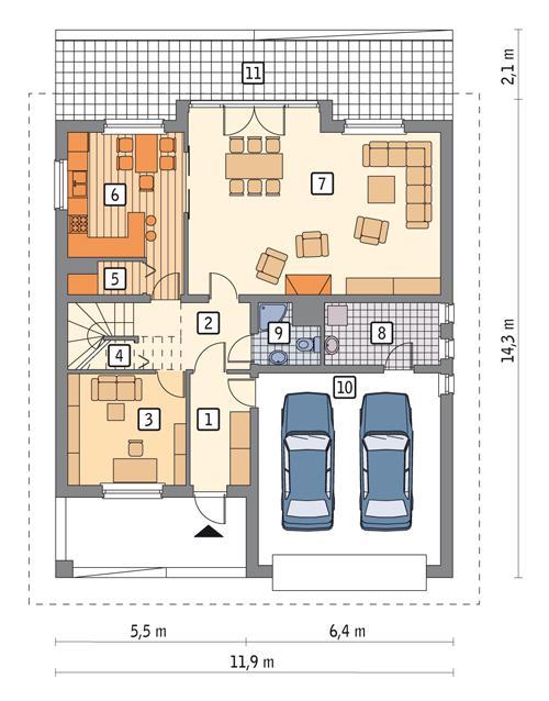 Rzut parteru POW. 121,8 m²