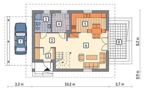 Rzut parteru: wariant 2 POW. 60,5 m²
