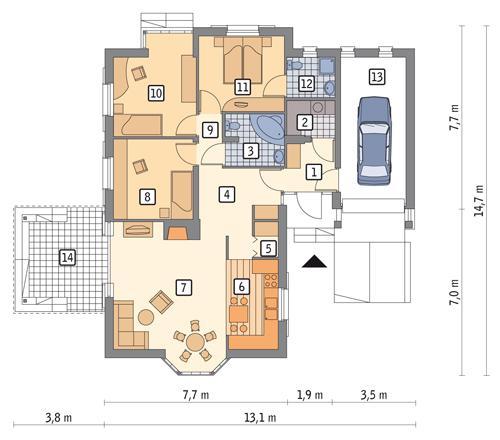 Rzut parteru POW. 117,1 m²