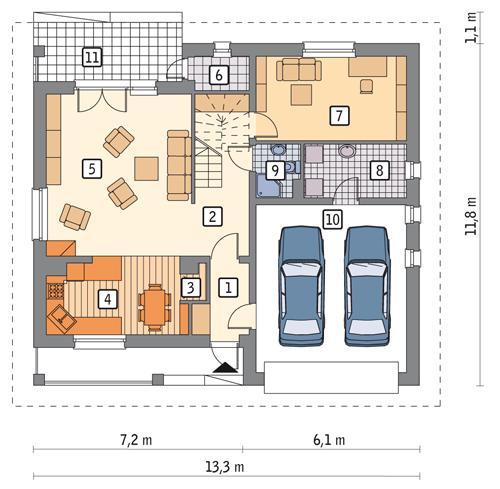 Rzut parteru POW. 108,7 m²