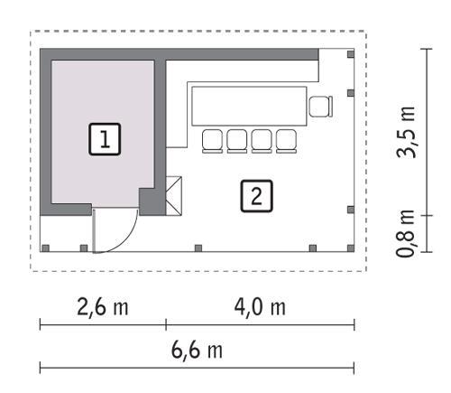 Rzut parteru POW. 6,3 m²