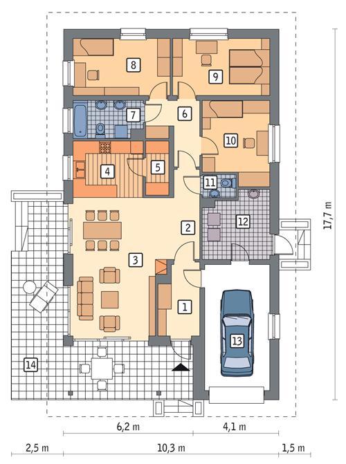 Rzut parteru POW. 128,6 m²