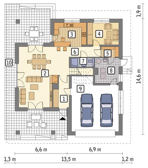 Rzut parteru POW. 123,5 m²