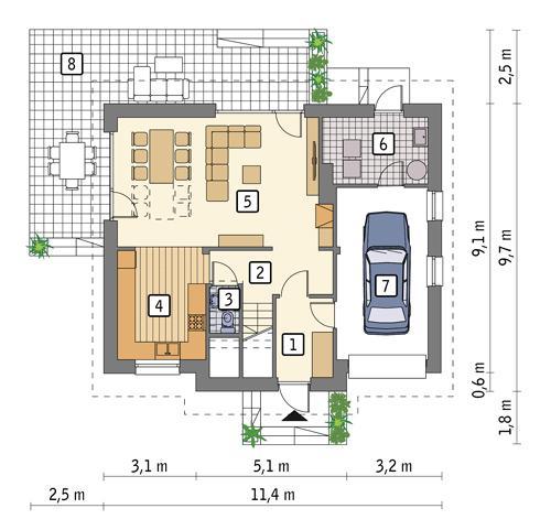 Rzut parteru POW. 77,8 m²