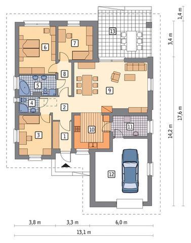 RZUT PARTERU POW. 102,0 m²
